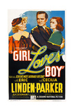 GIRL LOVES BOY, US poster art, from left: Bernadene Hayes, Eric Linden, Cecilia Parker, 1937 Posters