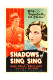 SHADOWS OF SING SING, from left: Bruce Cabot, Mary Brian on midget window card, 1933. Art