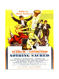NOTHING SACRED, US re-release ad art, inset from left: Carole Lombard, Fredric March, 1937 Prints
