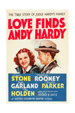 LOVE FINDS ANDY HARDY, l-r: Judy Garland, Mickey Rooney on poster art, 1938. Prints