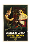 SEVEN KEYS TO BALDPATE, l-r: George M. Cohan, Anna Q. Nilsson on poster art, 1917. Prints