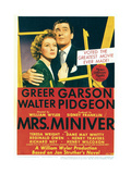 MRS. MINIVER, from left: Greer Garson, Walter Pidgeon on midget window card, 1942. Posters