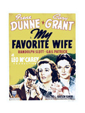 MY FAVORITE WIFE, from left: Cary Grant, Irene Dunne, Gail Patrick on window card, 1940 Art