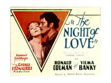 THE NIGHT OF LOVE, l-r: Vilma Banky, Ronald Colman on title lobbycard, 1927. Art