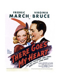 THERE GOES MY HEART, US poster art, from left: Virginia Bruce, Fredric March, 1938 Print