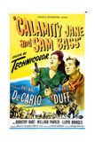 CALAMITY JANE AND SAM BASS, US poster, from left: Yvonne De Carlo, Howard Duff, 1949 Posters