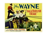SAGEBRUSH TRAIL, top left: John Wayne, inset from left: John Wayne, Nancy Shubert, 1933. Posters