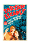 TARZAN ESCAPES, l-r: Johnny Weissmuller, Maureen O'Sullivan on poster art, 1936. Prints