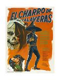 EL CHARRO DE LAS CALAVERAS, (aka THE RIDER OF SKULLS), Mexican poster, Dagoberto Rodriquez, 1965 Prints
