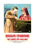 HE COMES UP SMILING, l-r: Douglas Fairbanks, Marjorie Daw on poster art, 1918 Posters