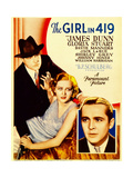 THE GIRL IN 419, from left: James Dunn, Gloria Stuart, David Manners on midget window card, 1933. Plakater