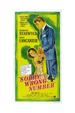 SORRY, WRONG NUMBER, US poster, from left: Barbara Stanwyck, Burt Lancaster, 1948 Art