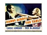 HANDS ACROSS THE TABLE, from left: Fred MacMurray, Carole Lombard, 1935 Prints
