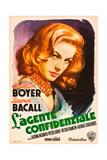 CONFIDENTIAL AGENT (aka L'AGENTE CONFIDENZIALE), Lauren Bacall, (Italian poster art), 1945. Prints