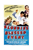 BLONDIE'S BLESSED EVENT, from left: Penny Singleton, Arthur Lake, Daisy, Larry Simms, 1942 Poster