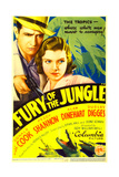 FURY OF THE JUNGLE, from left: Donald Cook, Peggy Shannon on midget window card, 1933. Prints