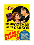 RANDOM HARVEST, from left: Greer Garson, Ronald Colman on midget window card, 1942. Art