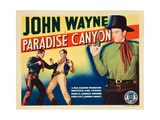 PARADISE CANYON, bottom left and top right: John Wayne on title card, 1935. Art
