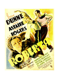 ROBERTA, from bottom left: Irene Dunne, Ginger Rogers, Fred Astaire on window card, 1935. Posters