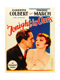 TONIGHT IS OURS, from left: Fredric March, Claudette Colbert on midget window card, 1933. Print