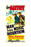 MAN FROM MUSIC MOUNTAIN, from left: Gene Autry, Smiley Burnette, 1938 Print