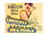 THE INVISIBLE MENACE, l-r: Marie Wilson, Boris Karloff on title card, 1938. Prints