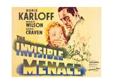 THE INVISIBLE MENACE, l-r: Marie Wilson, Boris Karloff on title card, 1938. Prints