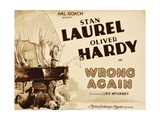 WRONG AGAIN, from top: Stan Laurel, Oliver Hardy on title lobbycard, 1929 Prints