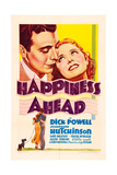 HAPPINESS AHEAD, 'Mini Window Card' poster, top from left: Dick Powell, Josephine Hutchinson, 1934. Print