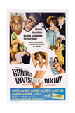GHOST IN THE INVISIBLE BIKINI, top left: Boris Karloff, center: Nancy Sinatra, 1966. Posters