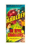 THE DEVIL COMMANDS, l-r: Amanda Duff, Boris Karloff on poster art, 1941. Posters