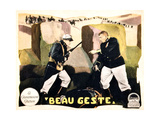 BEAU GESTE, standing foreground, from left: Ronald Colman, Victor McLaglen on lobbycard, 1926. Prints