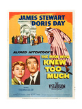 THE MAN WHO KNEW TOO MUCH, on left, from left: Doris Day, James Stewart; 1-sheet poster, 1956. Prints