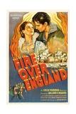 FIRE OVER ENGLAND, Flora Robson, Laurence Olivier, 1937, poster art Posters