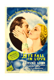 LET'S FALL IN LOVE, from left: Edmund Lowe, Ann Sothern on midget window card, 1933. Poster