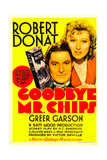 GOODBYE, MR. CHIPS, from left: Robert Donat, Greer Garson on midget window card, 1939. Posters