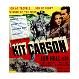 KIT CARSON, top from left: Jon Hall, Lynn Bari, Jon Hall on window card, 1940 Poster