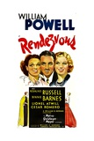 RENDEZVOUS, from left: Rosalind Russell, William Powell, Binnie Barnes, 1935. Posters