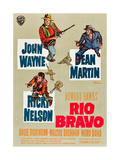 RIO BRAVO, clockwise: John Wayne, Dean Martin, Ricky Nelson on German poster art, 1959. Prints
