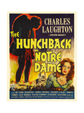 THE HUNCHBACK OF NOTRE DAME, right: Maureen O'Hara on window card, 1939. Posters