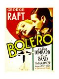 BOLERO, top from left: Carole Lombard, George Raft on midget window card, 1934. Posters