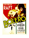 BOLERO, top from left: Carole Lombard, George Raft on midget window card, 1934. Posters