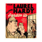 PARDON US, from left: Oliver Hardy, Stan Laurel on window card, 1931. Art