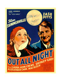OUT ALL NIGHT, from left: Zasu Pitts, Slim Summerville on window card, 1933. Posters