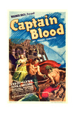 CAPTAIN BLOOD, from left: Olivia De Havilland, Errol Flynn on midget window card, 1935. Posters
