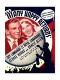 MANY HAPPY RETURNS, US ad art, from left: George Burns, Gracie Allen, Guy Lombardo, 1934 Posters
