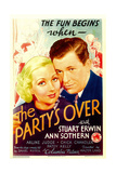 THE PARTY'S OVER, from left: Ann Sothern, Stuart Erwin on midget window card, 1934. Poster