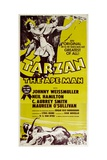 TARZAN, THE APE MAN, top from left: Maureen O'Sullivan, Johnny Weissmuller, 1932. Poster