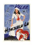 HONOLULU LU, top: Lupe Velez on Swedish poster art, 1941. Art