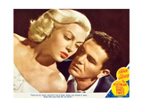 THE POSTMAN ALWAYS RINGS TWICE, l-r: Lana Turner, John Garfield on lobbycard, 1945. Art
